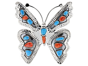 Pre-Owned Blue Turquoise Silver Butterfly Pendant/Brooch