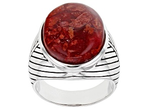 Pre-Owned Red Coral Cabochon Rhodium Over Silver Solitaire Ring