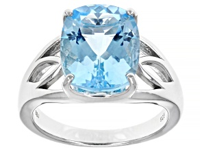 Pre-Owned Glacier Topaz(TM) Rhodium Over Silver Solitaire Ring 4.67ct