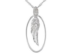 Pre-Owned White Diamond Rhodium Over Sterling Silver Angel Wing Pendant With Chain 0.35ctw