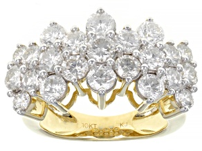 Pre-Owned White Diamond 10K Yellow Gold Pyramid Ring 3.00ctw