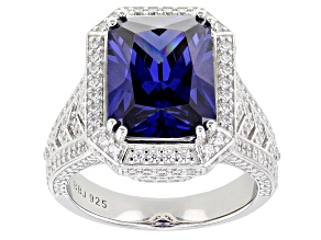Pre-Owned Blue and White Cubic Zirconia Rhodium Over Silver Ring 12.88ctw