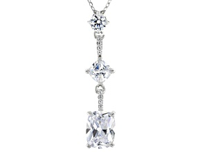 Pre-Owned White Cubic Zirconia Rhodium Over Sterling Silver Pendant With Chain (3.54ctw DEW)