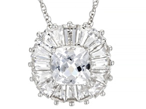 Pre-Owned White Lab Created Sapphire Rhodium Over Sterling Silver Pendant with Chain. 3.47ctw
