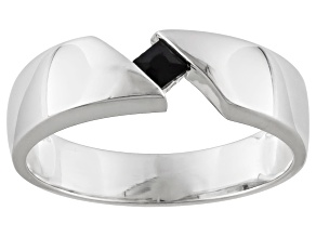 Pre-Owned Black Spinel Rhodium Over Sterling Silver Gents Wedding Band Ring .17ct.