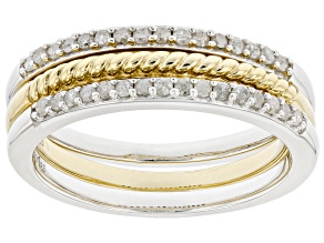 Pre-Owned White Diamond Rhodium And 14kt Yellow Gold Over Sterling Silver Set Of 3 Stackable Rings .