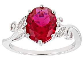 Pre-Owned Red Lab Created Ruby Rhodium Over Sterling Silver Ring 2.58ctw