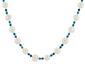 Pre-Owned White Cultured Freshwater Pearl & Apatite Rhodium Over Sterling Silver 20 Inch Necklace