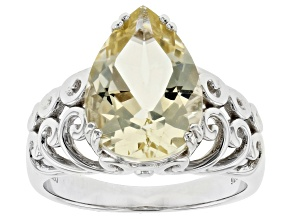 Pre-Owned Yellow Labradorite Rhodium Over Sterling Silver Ring 3.94ct