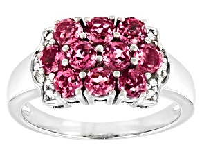 Pre-Owned Pink Garnet Rhodium Over Sterling Silver Ring 1.30ctw