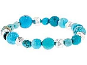 Pre-Owned Blue Kingman & Hematine Stretch Bracelet