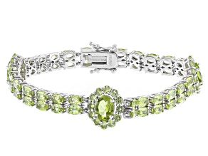 Pre-Owned Green Peridot Rhodium Over Sterling Silver Bracelet 14.21ctw