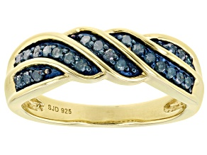 Pre-Owned Blue Diamond 14k Yellow Gold Over Sterling Silver Band Ring 0.25ctw