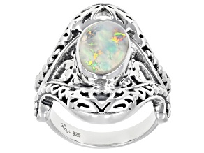 Pre-Owned Ethiopian Opal Sterling Silver Ring 1.17ct