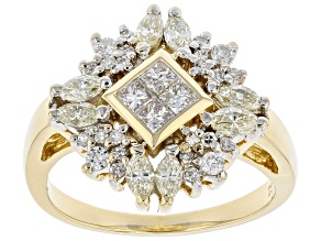 Pre-Owned White Diamond 14K Yellow Gold Cluster Ring 1.15ctw