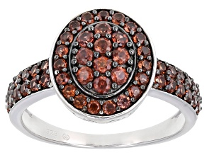 Pre-Owned Red Garnet Rhodium Over Sterling Silver Ring 1.03ctw