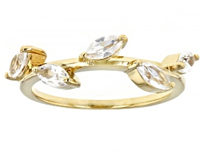 Pre-Owned Lab Created White Sapphire 18k Yellow Gold Over Sterling Silver Ring 0.64ctw