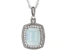 Pre-Owned Blue Aquamarine Rhodium Over Silver Pendant With Chain 0.41ctw