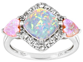 Pre-Owned White Lab Created Opal Rhodium Over Sterling Silver Ring 0.21ctw