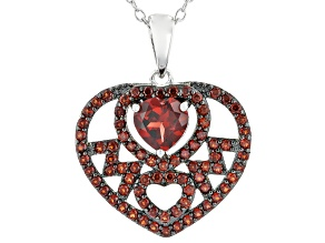 Pre-Owned Red Garnet Rhodium Over Silver MOM Pendant With Chain 1.69ctw