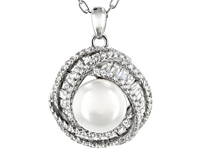 Pre-Owned 9.5-10mm White Cultured Freshwater Pearl With Cubic Zirconia Rhodium Over Silver Pendant 1