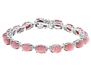 Pre-Owned Pink Mookaite Rhodium Over Silver Bracelet
