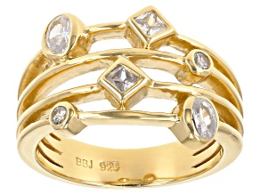 Pre-Owned White Cubic Zirconia 18K Yellow Gold Over Sterling Silver Ring 0.85ctw
