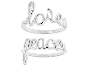 """Pre-Owned Sterling Silver Set of 2 Script """"Love"""" and """"Peace"""" Rings"""