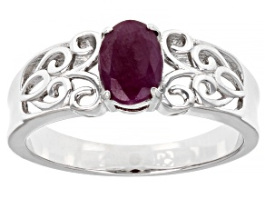 Pre-Owned Red Ruby Rhodium Over Sterling Silver Ring 0.97ct