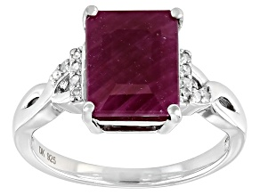 Pre-Owned Red Ruby Rhodium Over Sterling Silver Ring 3.73ctw