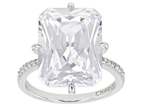 Pre-Owned Silver Tone Radiant Cut, Rectangular Octagonal Cubic Zirconia Ring 19.90ctw