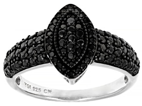 Pre-Owned Round Black Spinel Rhodium Over Sterling Silver Ring .77ctw