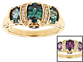 Pre-Owned Blue Lab Created Alexandrite 18k Yellow Gold Over Sterling Silver Ring 1.47ctw