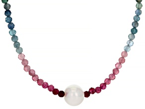 Pre-Owned Round Multi-Tourmaline With Cultured Freshwater Pearl Rhodium Over Sterling Silver Necklac