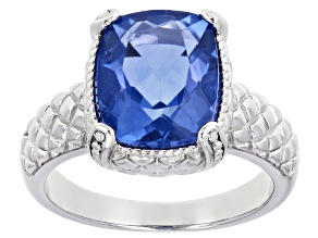 Pre-Owned Blue Color Change Fluorite Rhodium Over Sterling Silver Solitaire Ring 3.91ct