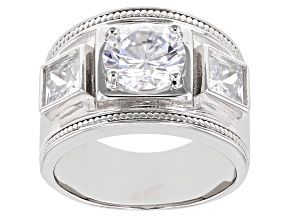 Pre-Owned White Cubic Zirconia Rhodium Over Sterling Silver Ring 4.77ctw