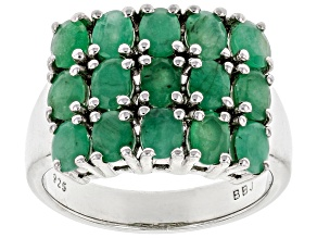Pre-Owned Green Emerald Rhodium Over Silver Ring 2.04ctw