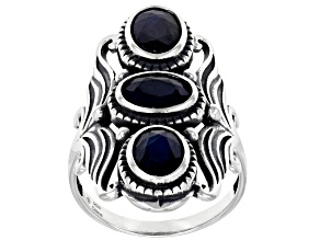 Pre-Owned Blue Sapphire Rhodium Over Sterling Silver 3 Stone Ring 1.75ctw