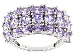 Pre-Owned Lavender Cubic Zirconia Rhodium Over Sterling Silver Ring 6.57ctw