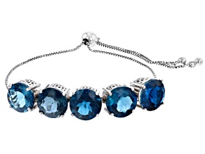 Pre-Owned London Blue Topaz Rhodium Over Silver Bolo Bracelet 20.00ctw