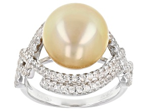 Pre-Owned Golden Cultured South Sea Pearl & White Zircon Rhodium Over Sterling Silver Ring