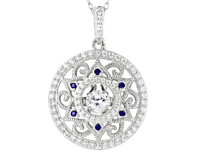 Pre-Owned Lab Created Sapphire & White Cubic Zirconia Platineve Pendant With Chain 1.79ctw