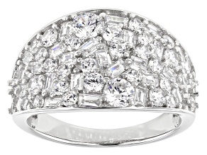 Pre-Owned White Cubic Zirconia Rhodium Over Sterling Silver Ring 4.82ctw