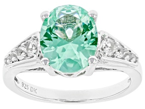 Pre-Owned Green Lab Created Spinel Rhodium Over Sterling Silver Ring 2.49ctw