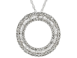 Pre-Owned White Diamond Rhodium Over Sterling Silver Pendant 1.00ctw