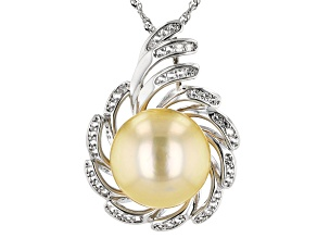 Pre-Owned Golden Cultured South Sea 13-14mm Pearl And 0.57ctw White Topaz Sterling Silver Pendant Wi