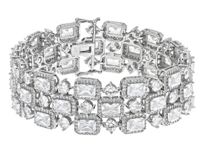 Pre-Owned White Cubic Zirconia Rhodium Over Sterling Silver Bracelet 48.60ctw