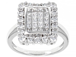 Pre-Owned White Cubic Zirconia Platinum Over Sterling Silver Ring 2.54ctw