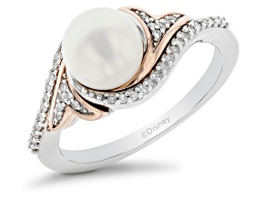 Pre-Owned Enchanted Disney Ariel Ring Cultured Freshwater Pearl & Diamond Rhodium Over Silver 2.80ct