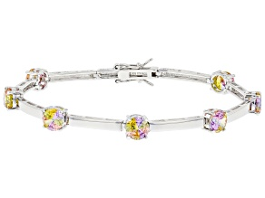 Pre-Owned Multi Color Cubic Zirconia Rhodium Over Sterling Silver Bracelet. 5.50ctw